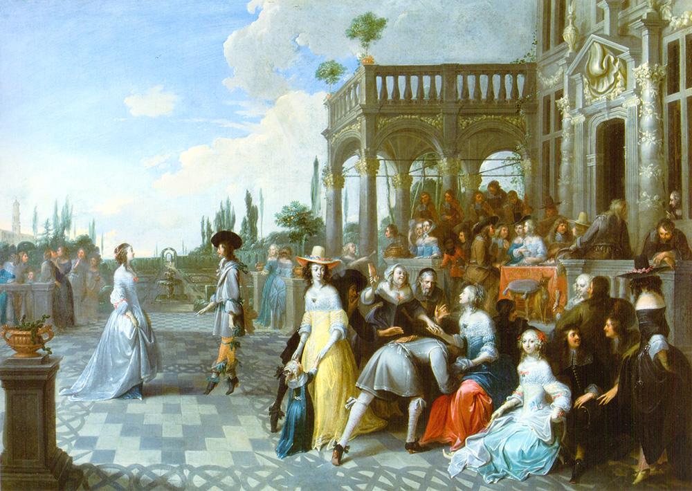 """Baile en el jardín de Palacio Hieronymus Janssens (""""De Danser"""")"""
